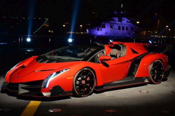 ABU DHABI, UNITED ARAB EMIRATES - DECEMBER 01: A view of the new Lamborghini Veneno Roadster on board the Italian aircraft carrier Cavour on December 1, 2013 in Abu Dhabi, United Arab Emirates. (Photo by Claudio Villa/Getty Images)